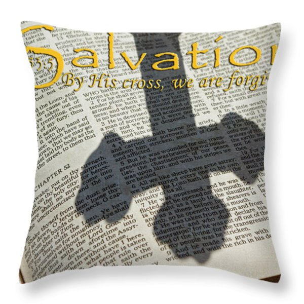 Salvation By His Cross Isaiah Throw Pillow by Robyn Stacey