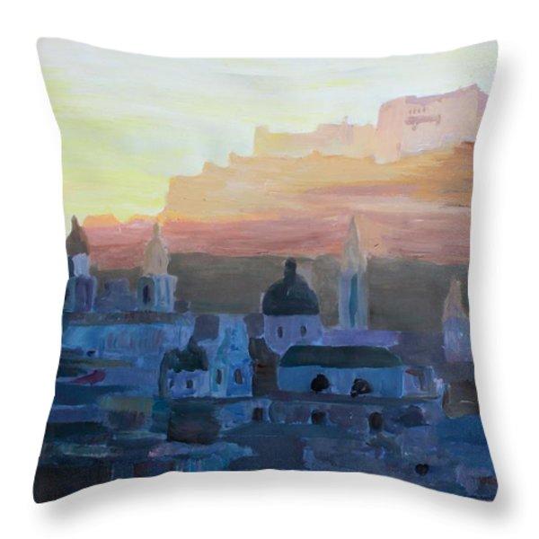 Salzburg At Dusk Throw Pillow by M Bleichner