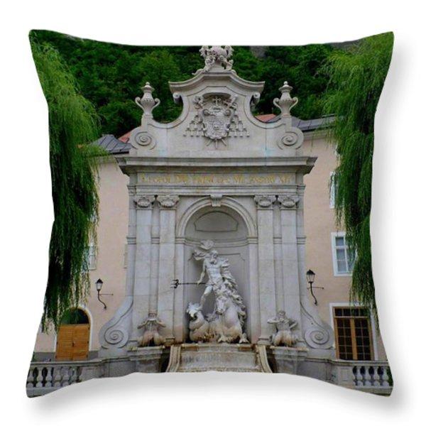 Salzburg Castle with Fountain Throw Pillow by Carol Groenen