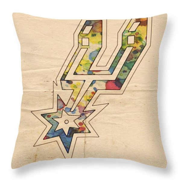 San Antonio Spurs Logo Art Throw Pillow by Florian Rodarte