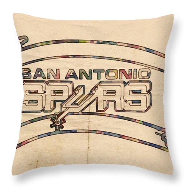 San Antonio Spurs Logo Vintage Throw Pillow by Florian Rodarte
