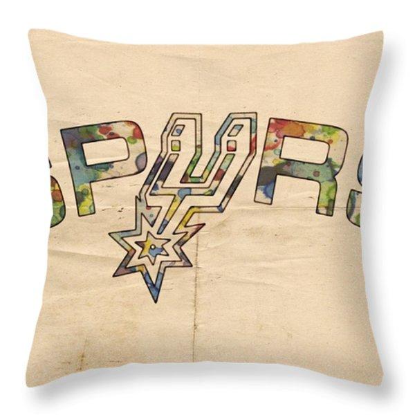 San Antonio Spurs Retro Poster Throw Pillow by Florian Rodarte