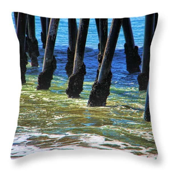 San Clemente Pier Throw Pillow by Mariola Bitner