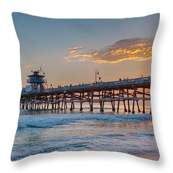 San Clemente Pier Sunset Throw Pillow by Scott Campbell