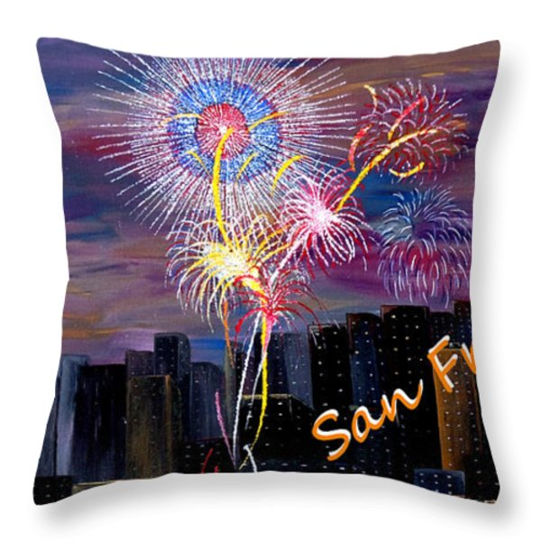 San Francisco Bay City Celebration Throw Pillow by Mark Moore