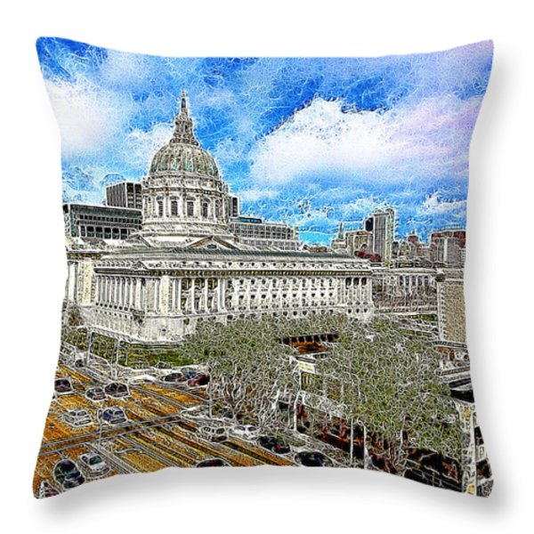 San Francisco City Hall 5D22507 Photoart Throw Pillow by Wingsdomain Art and Photography