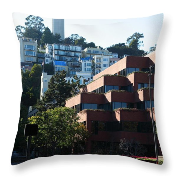 San Francisco Coit Tower At Levis Plaza 5D26188 Throw Pillow by Wingsdomain Art and Photography
