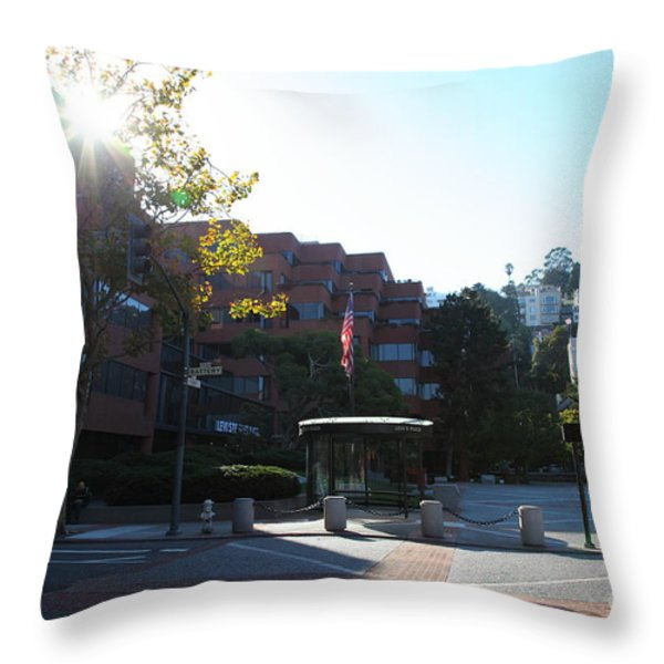 San Francisco Coit Tower At Levis Plaza 5D26189 Throw Pillow by Wingsdomain Art and Photography