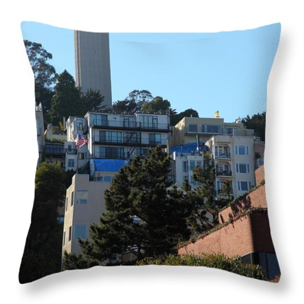 San Francisco Coit Tower At Levis Plaza 5D26192 Throw Pillow by Wingsdomain Art and Photography