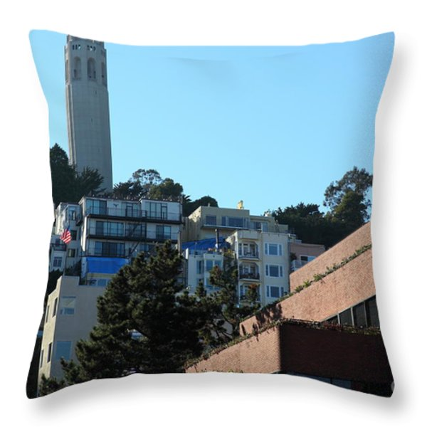 San Francisco Coit Tower At Levis Plaza 5D26193 Throw Pillow by Wingsdomain Art and Photography