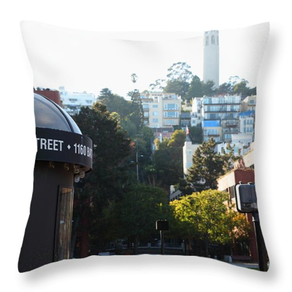 San Francisco Coit Tower At Levis Plaza 5D26212 Throw Pillow by Wingsdomain Art and Photography
