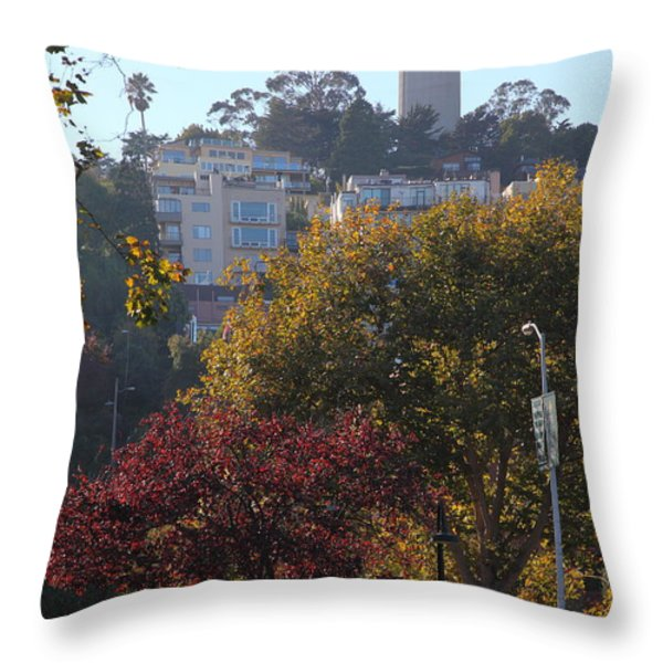 San Francisco Coit Tower At Levis Plaza 5D26216 Throw Pillow by Wingsdomain Art and Photography