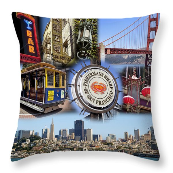 San Francisco Collage Throw Pillow by Kelley King
