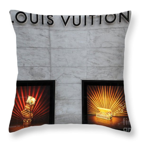 San Francisco Louis Vuitton Storefront - 5D20546-2 Throw Pillow by Wingsdomain Art and Photography