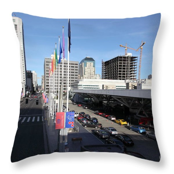 San Francisco Moscone Center and Skyline - 5D20511 Throw Pillow by Wingsdomain Art and Photography