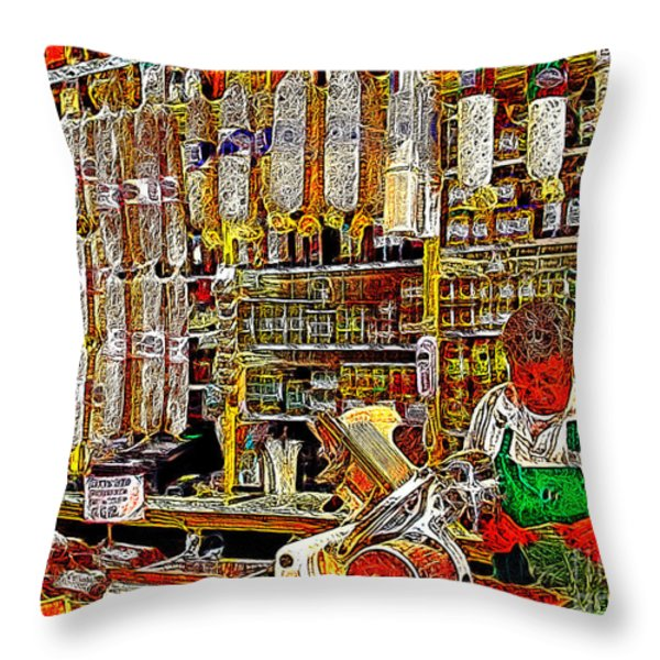 San Francisco North Beach Deli 20130505v1 Throw Pillow by Wingsdomain Art and Photography