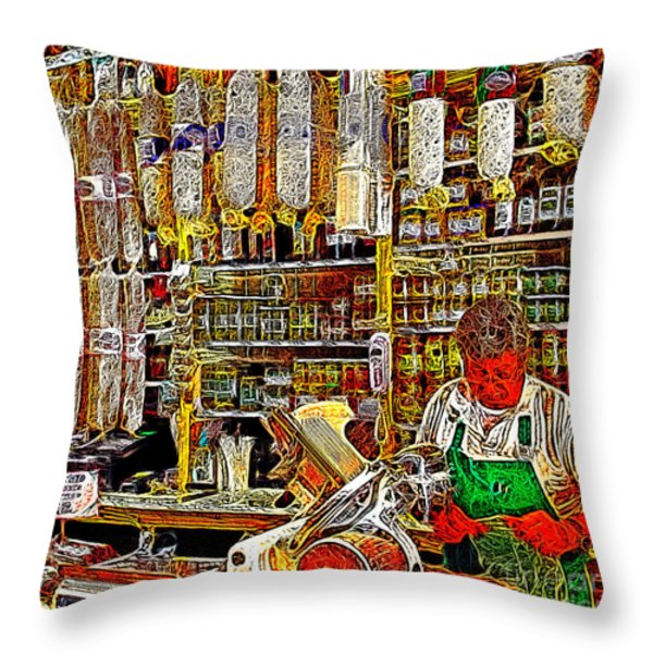 San Francisco North Beach Deli 20130505v2 square Throw Pillow by Wingsdomain Art and Photography
