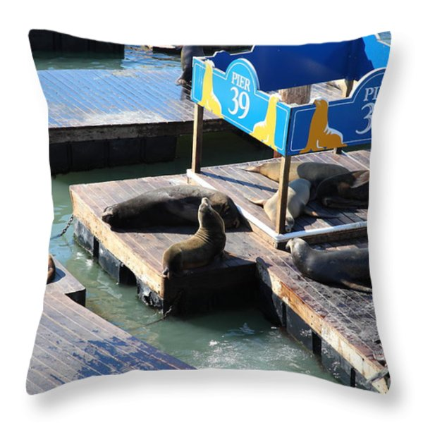 San Francisco Pier 39 Sea Lions 5D26105 Throw Pillow by Wingsdomain Art and Photography