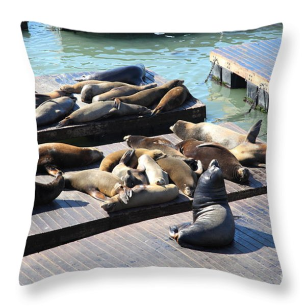 San Francisco Pier 39 Sea Lions 5D26113 Throw Pillow by Wingsdomain Art and Photography