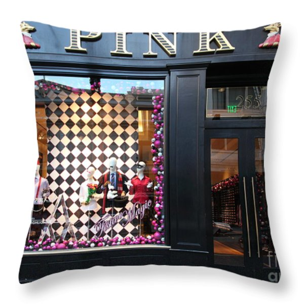 San Francisco Pink Storefront - 5d20565 Throw Pillow by Wingsdomain Art and Photography