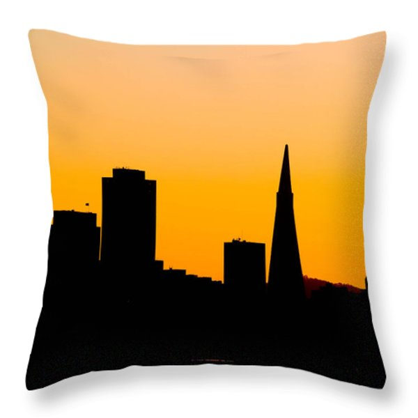 San Francisco Silhouette Throw Pillow by Bill Gallagher