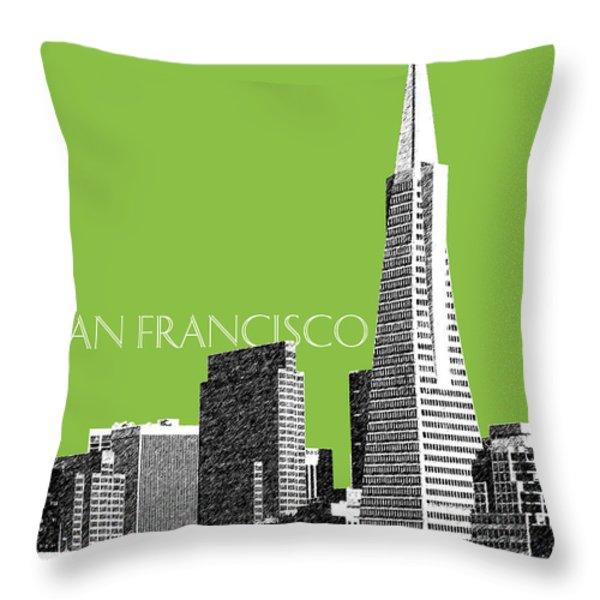 San Francisco Skyline Transamerica Pyramid Building - Olive Throw Pillow by DB Artist