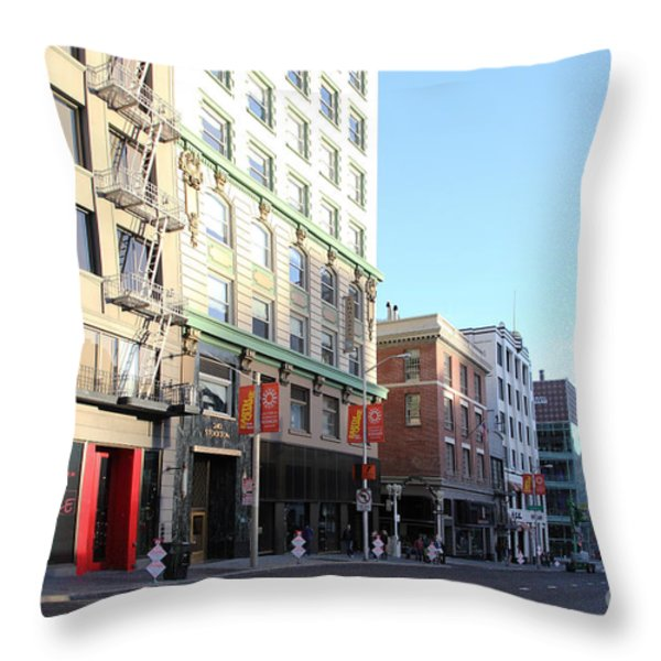 San Francisco Stockton Street At Union Square - 5d20564 Throw Pillow by Wingsdomain Art and Photography