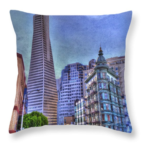 San Francisco Transamerica Pyramid and Columbus Tower view From North Beach Throw Pillow by Juli Scalzi