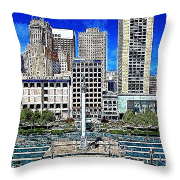 San Francisco Union Square 5D17938 Artwork Throw Pillow by Wingsdomain Art and Photography