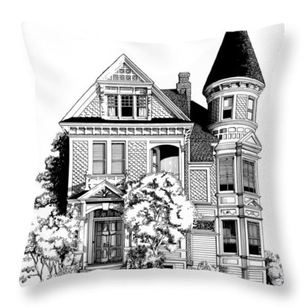San Francisco Victorian Throw Pillow by Mary Palmer