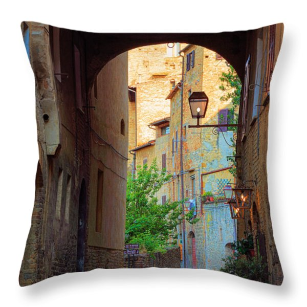San Gimignano Archway Throw Pillow by Inge Johnsson