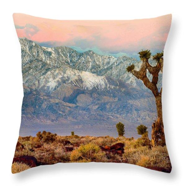 San Gorgonio Mountain From Joshua Tree National Park Throw Pillow by Bob and Nadine Johnston