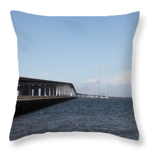 San Mateo Bridge In The California Bay Area 5d21893 Throw Pillow by Wingsdomain Art and Photography