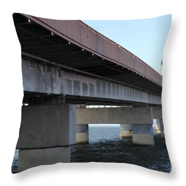 San Mateo Bridge In The California Bay Area 5d21897 Throw Pillow by Wingsdomain Art and Photography