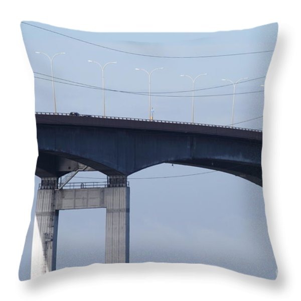 San Mateo Bridge In The California Bay Area 7d21910 Throw Pillow by Wingsdomain Art and Photography