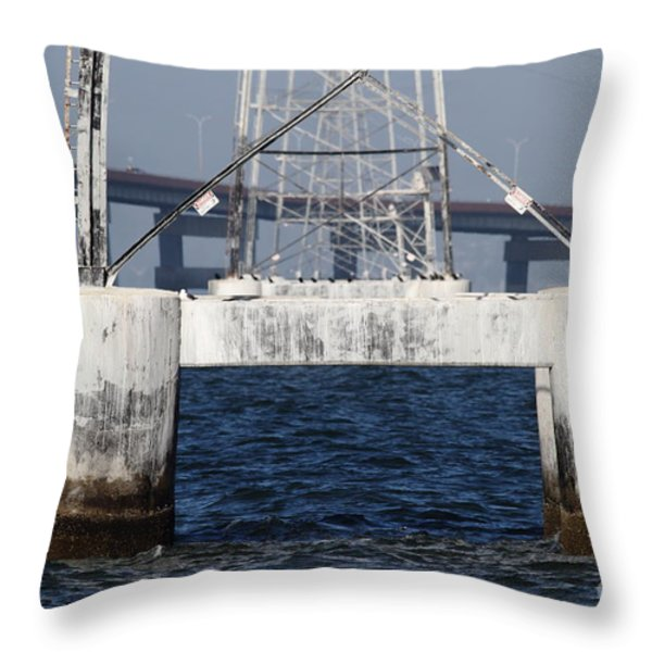 San Mateo Bridge In The California Bay Area 7d21943 Throw Pillow by Wingsdomain Art and Photography