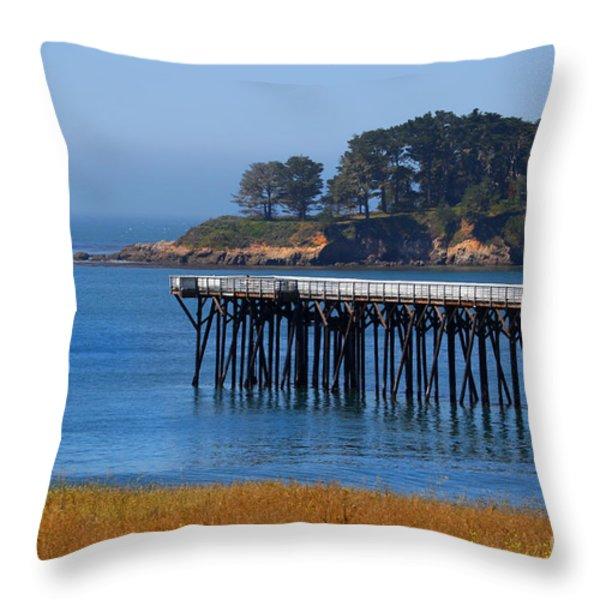 San Simeon Pier By Diana Sainz Throw Pillow by Diana Sainz