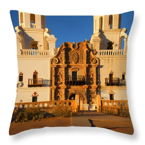 San Xavier Mission Throw Pillow by Mike  Dawson