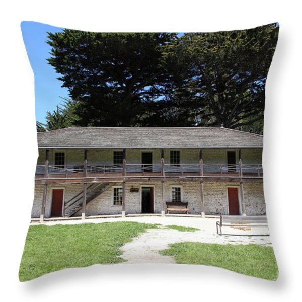 Sanchez Adobe Pacifica California 5D22644 Throw Pillow by Wingsdomain Art and Photography