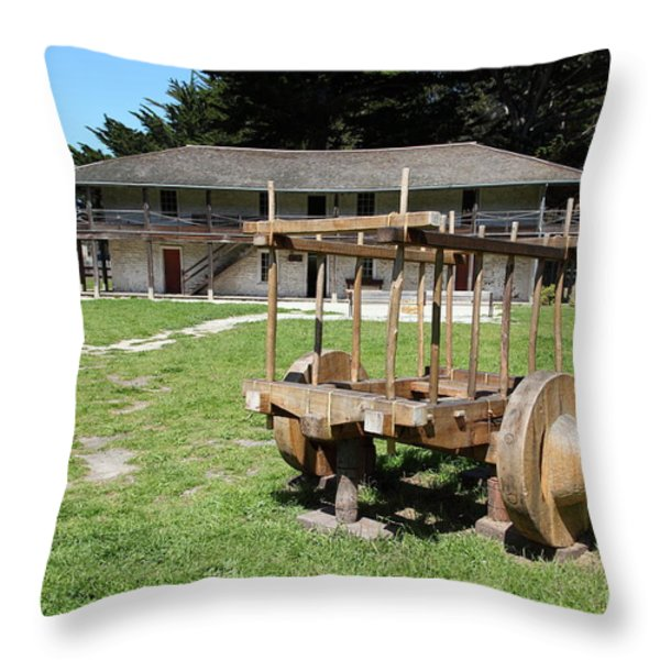 Sanchez Adobe Pacifica California 5D22653 Throw Pillow by Wingsdomain Art and Photography