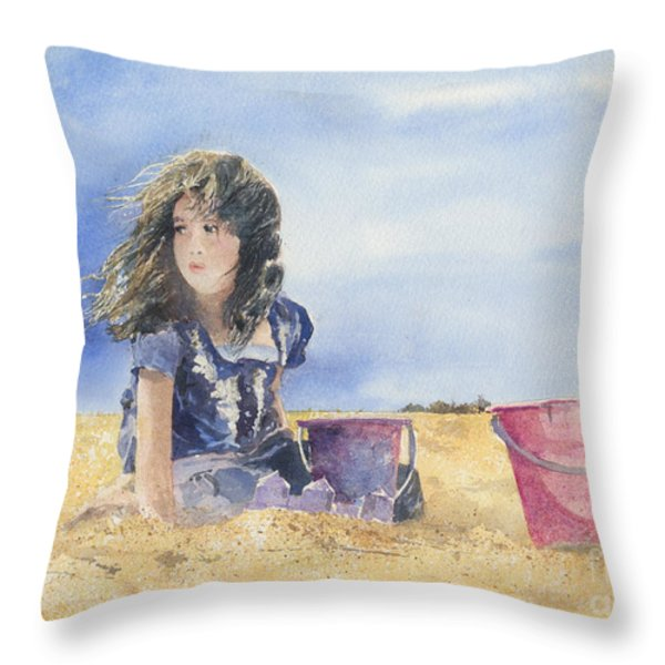 SAND CASTLE DREAMS Throw Pillow by Monte Toon