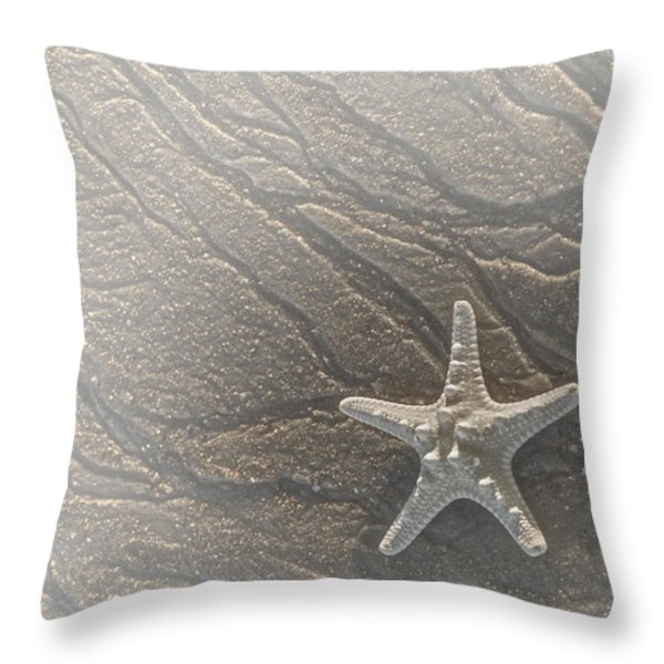 Sand Prints and Starfish II Throw Pillow by Susan Candelario