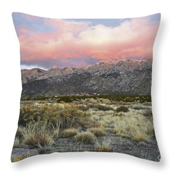 Sandia Sunset Mountain Throw Pillow by Andrea Hazel Ihlefeld