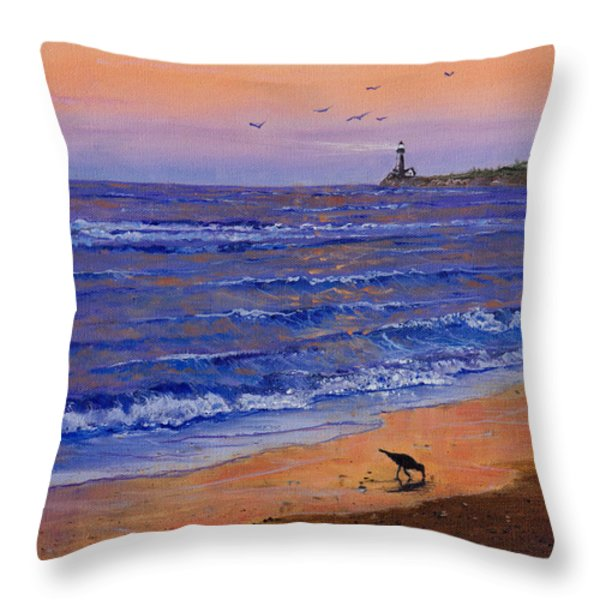 Sandpiper At Sunset Throw Pillow by C Steele