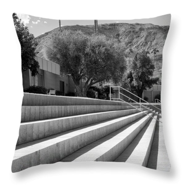 Sandpiper Stairs Bw Palm Desert Throw Pillow by William Dey