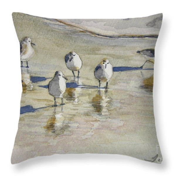 Sandpipers 2 Watercolor 5-13-12 Julianne Felton Throw Pillow by Julianne Felton