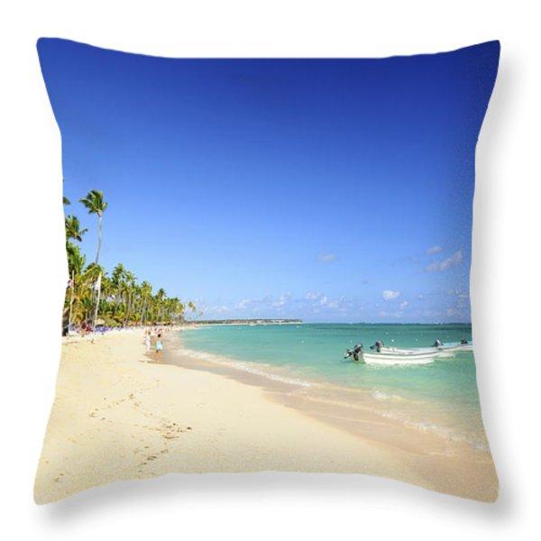 Sandy beach on Caribbean resort  Throw Pillow by Elena Elisseeva