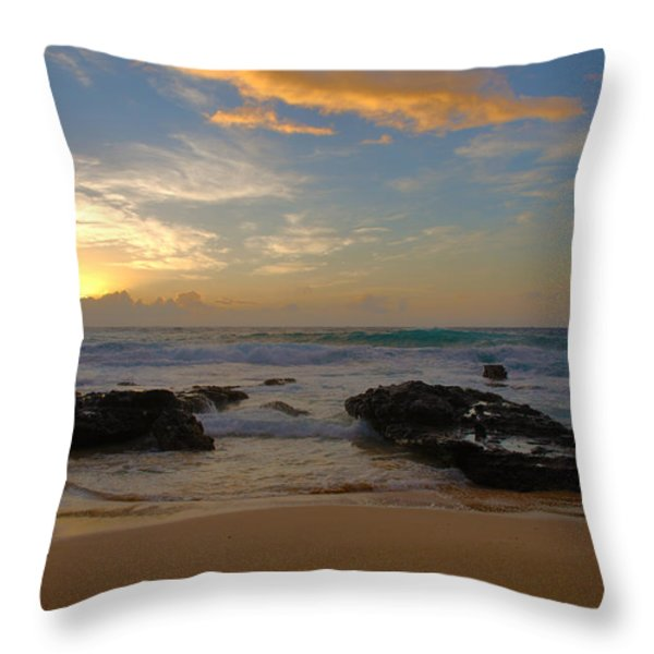 Sandy Beach Sunrise 3 - Oahu Hawaii Throw Pillow by Brian Harig