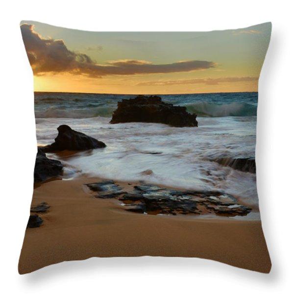 Sandy Beach Sunrise 7 - Oahu Hawaii Throw Pillow by Brian Harig