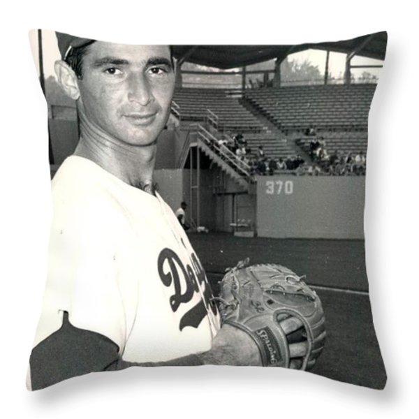 Sandy Koufax Photo Portrait Throw Pillow by Gianfranco Weiss
